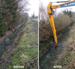 Before and after photo of watercourse