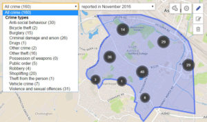 South Ashford Crime statistics map
