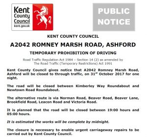A2042 Romney Marsh Road, Ashford Temporary prohibition of driving